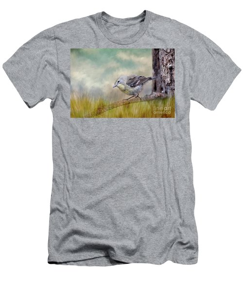 Men's T-Shirt (Slim Fit) featuring the photograph Little Warbler In Louisiana Winter by Bonnie Barry