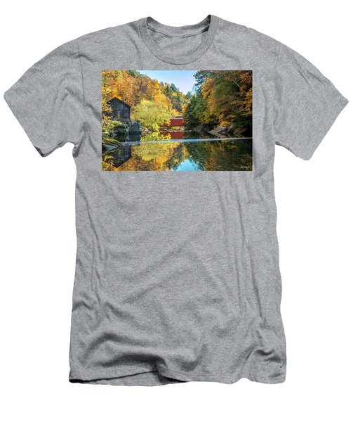 Men's T-Shirt (Slim Fit) featuring the photograph Mcconnell's Mill And Covered Bridge by Skip Tribby