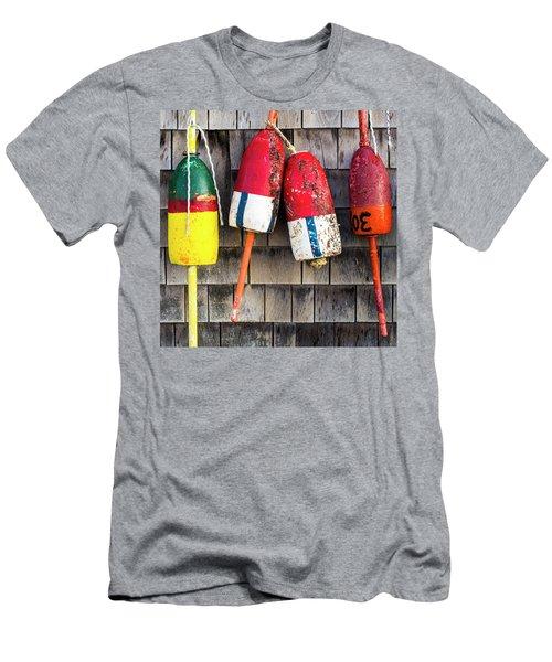 Lobster Buoys On Shingle Wall - Cape Neddick -  Maine Men's T-Shirt (Athletic Fit)