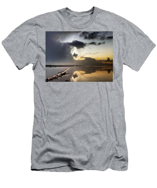 Log Pointing To Sunset Men's T-Shirt (Slim Fit) by Greg Nyquist