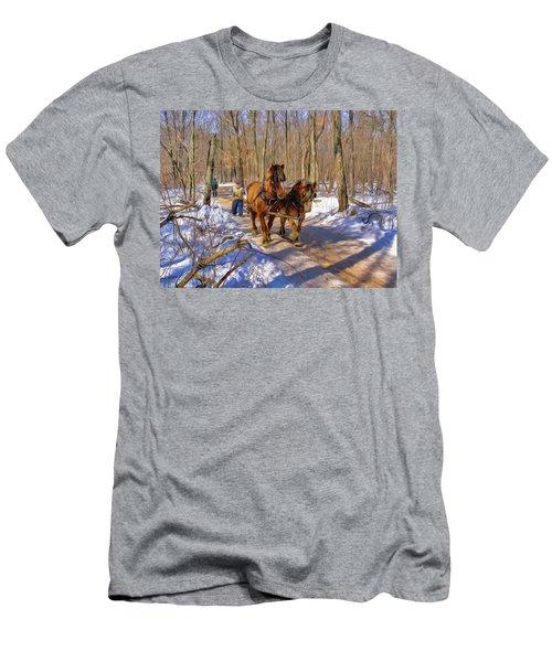 Logging Horses 1 Men's T-Shirt (Slim Fit) by Trey Foerster