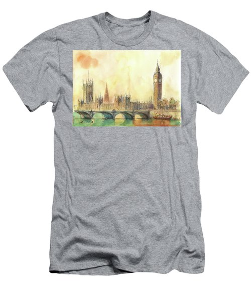 London Big Ben And Thames River Men's T-Shirt (Athletic Fit)