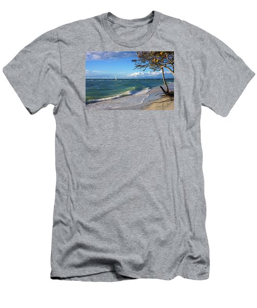 Lone Windsurfer At Wiggins Pass Men's T-Shirt (Slim Fit) by Robb Stan