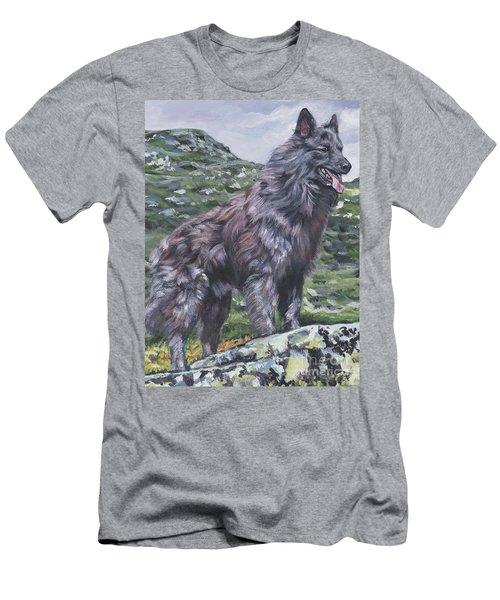 Men's T-Shirt (Slim Fit) featuring the painting Long Hair Dutch Shepherd by Lee Ann Shepard