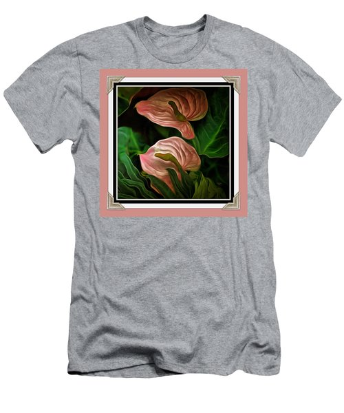 Men's T-Shirt (Slim Fit) featuring the mixed media Longwood Lilies by Trish Tritz