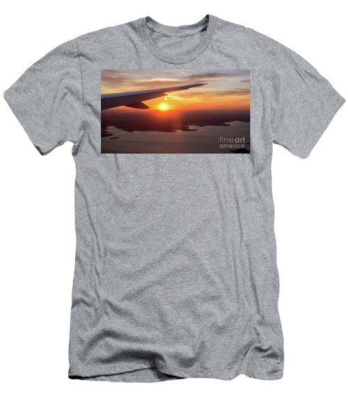 Looking At Sunset From Airplane Window With Lake In The Backgrou Men's T-Shirt (Athletic Fit)
