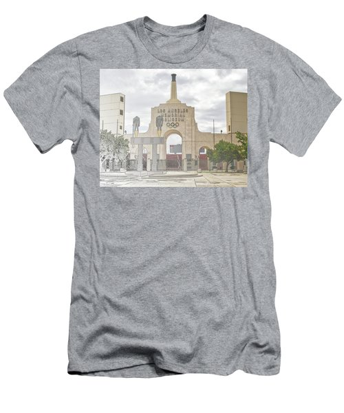 Men's T-Shirt (Athletic Fit) featuring the digital art Los Angeles Memorial Coliseum  by Anthony Murphy
