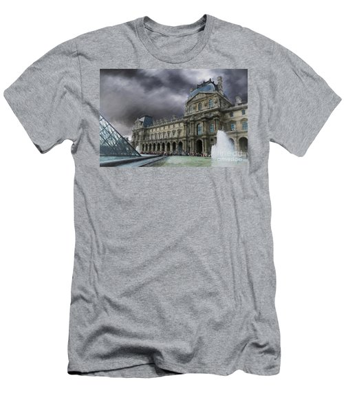 Men's T-Shirt (Slim Fit) featuring the mixed media Louvre by Jim  Hatch
