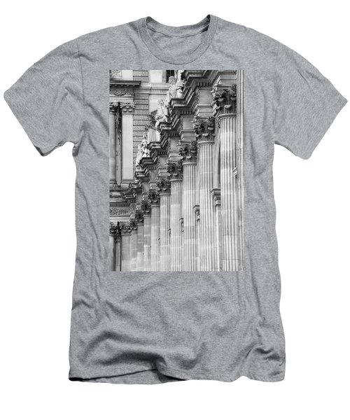 Men's T-Shirt (Athletic Fit) featuring the photograph Louvre Pillars, Paris, 2015 by Hitendra SINKAR