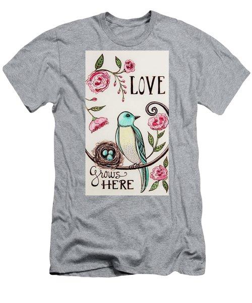 Love Grows Here Men's T-Shirt (Slim Fit) by Elizabeth Robinette Tyndall