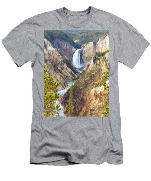 Lower Yellowstone Falls From Artist Point Men's T-Shirt (Athletic Fit)