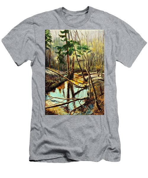 Men's T-Shirt (Slim Fit) featuring the painting  Lubianka-1- River by Henryk Gorecki