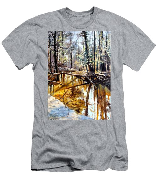 Men's T-Shirt (Slim Fit) featuring the painting  Lubianka-2-river by Henryk Gorecki