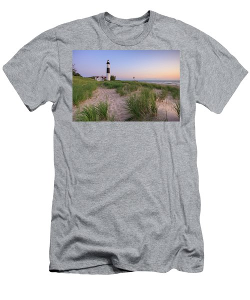 Men's T-Shirt (Athletic Fit) featuring the photograph Ludington Beach And Big Sable Point Lighthouse by Adam Romanowicz