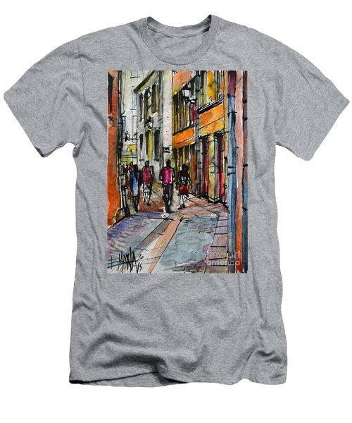 Lyon Cityscape - Street Scene #02 - Rue De Gadagne Men's T-Shirt (Athletic Fit)