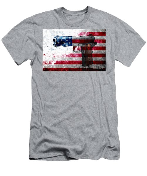 M1911 Colt 45 And American Flag On Distressed Metal Sheet Men's T-Shirt (Slim Fit) by M L C