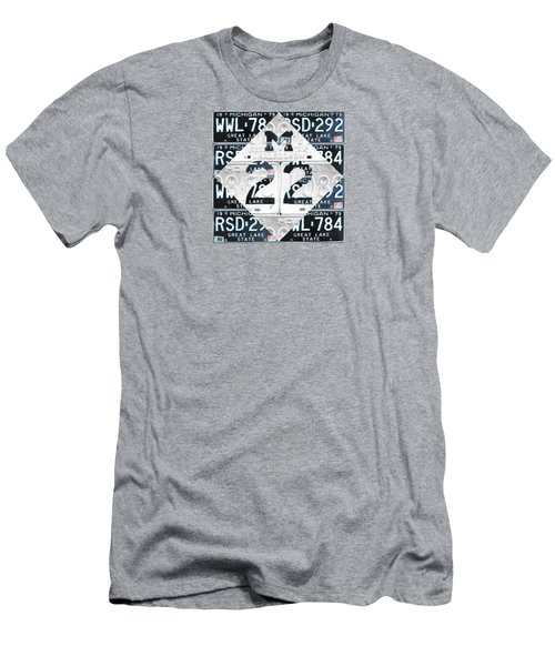 M22 Michigan Highway Symbol Recycled Vintage Great Lakes State License Plate Logo Art Men's T-Shirt (Athletic Fit)