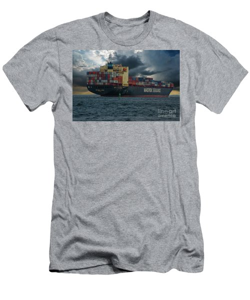 Ocean Freighter Headed Out To Sea Men's T-Shirt (Athletic Fit)