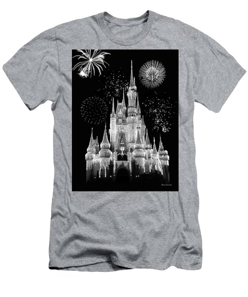 Magic Kingdom Castle In Black And White With Fireworks Walt Disney World Mp Men's T-Shirt (Slim Fit) by Thomas Woolworth
