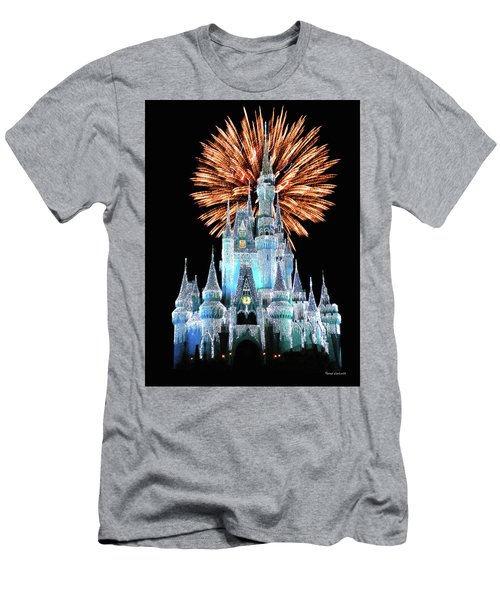 Magic Kingdom Castle In Frosty Light Blue With Fireworks 02 Mp Men's T-Shirt (Slim Fit) by Thomas Woolworth