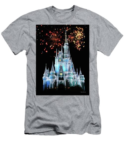 Magic Kingdom Castle In Frosty Light Blue With Fireworks 03 Mp Men's T-Shirt (Slim Fit) by Thomas Woolworth
