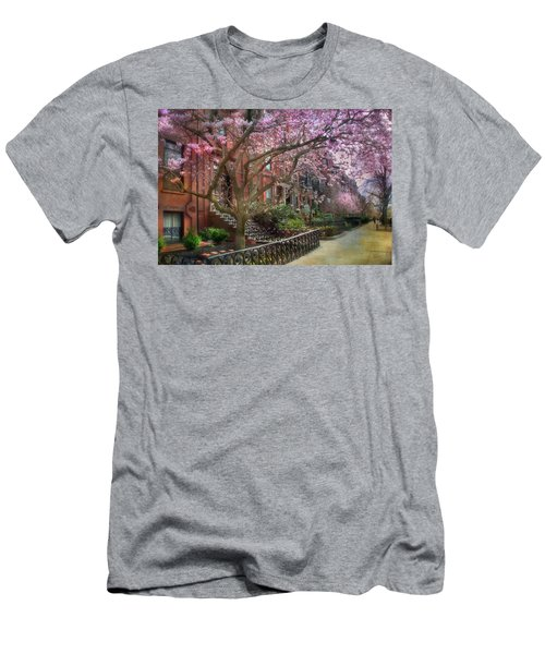 Men's T-Shirt (Slim Fit) featuring the photograph Magnolia Trees In Spring - Back Bay Boston by Joann Vitali