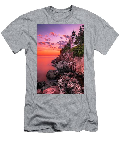 Men's T-Shirt (Slim Fit) featuring the photograph Maine Bass Harbor Lighthouse Sunset by Ranjay Mitra