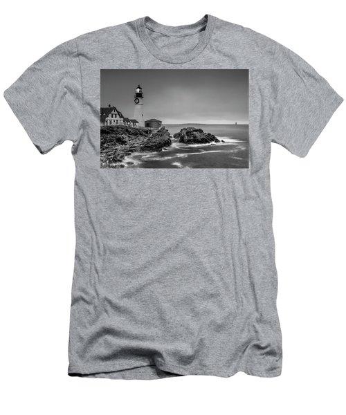 Maine Cape Elizabeth Lighthouse Aka Portland Headlight In Bw Men's T-Shirt (Slim Fit) by Ranjay Mitra