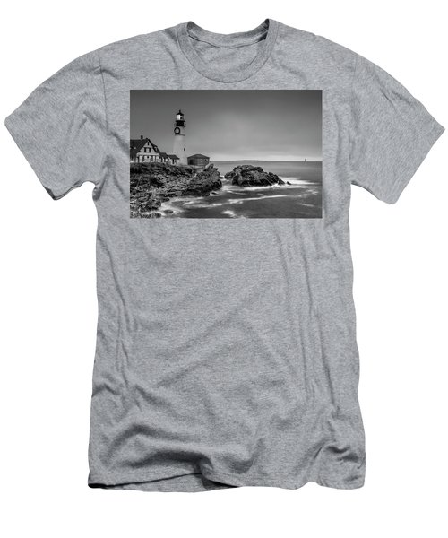 Maine Cape Elizabeth Lighthouse Aka Portland Headlight In Bw Men's T-Shirt (Athletic Fit)