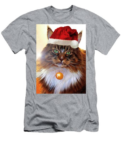Men's T-Shirt (Athletic Fit) featuring the photograph Maine Coon Xmas by Roger Bester