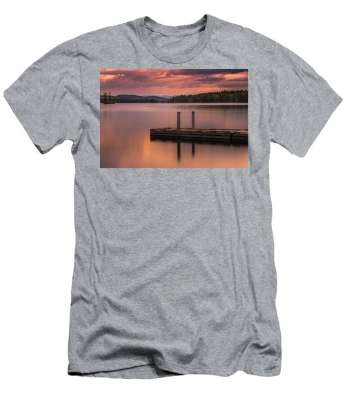 Men's T-Shirt (Athletic Fit) featuring the photograph Maine Highland Lake Boat Ramp At Sunset by Ranjay Mitra