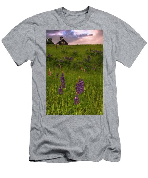 Maine Lupines And Home After Rain And Storm Men's T-Shirt (Slim Fit) by Ranjay Mitra