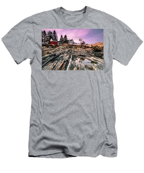 Men's T-Shirt (Slim Fit) featuring the photograph Maine Pemaquid Lighthouse Reflection In Summer by Ranjay Mitra