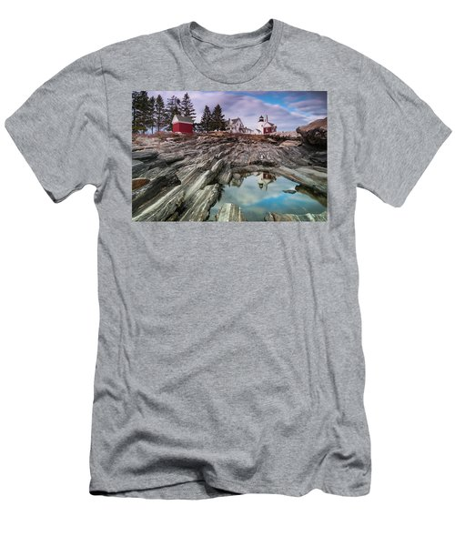 Maine Pemaquid Lighthouse Reflection Men's T-Shirt (Slim Fit) by Ranjay Mitra