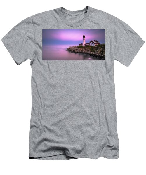 Men's T-Shirt (Athletic Fit) featuring the photograph Maine Portland Headlight Blue Hour Panorama by Ranjay Mitra