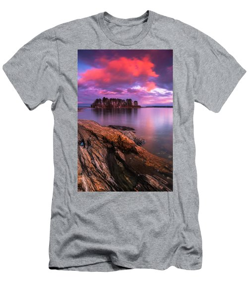 Maine Pound Of Tea Island Sunset At Freeport Men's T-Shirt (Slim Fit) by Ranjay Mitra