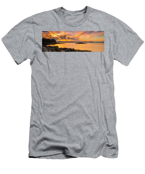 Maine Rocky Coastal Sunset In Penobscot Bay Panorama Men's T-Shirt (Slim Fit) by Ranjay Mitra