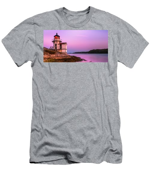 Men's T-Shirt (Athletic Fit) featuring the photograph Maine Squirrel Point Lighthouse On Kennebec River Sunset Panorama by Ranjay Mitra