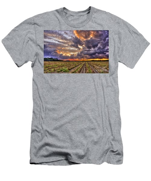 Men's T-Shirt (Athletic Fit) featuring the photograph Majestic Peanut Harvest Sunset Art by Reid Callaway