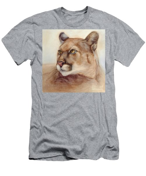 Men's T-Shirt (Slim Fit) featuring the painting Male Cougar by Bonnie Rinier
