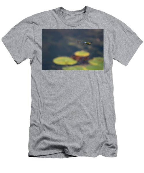 Malibu Blue Dragonfly Flying Over Lotus Pond Men's T-Shirt (Athletic Fit)