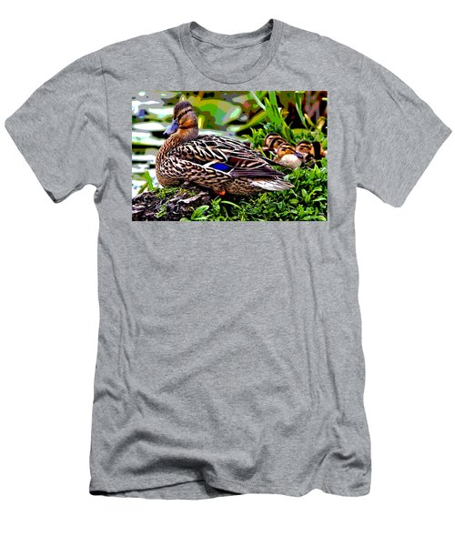 Mallard And Chicks Men's T-Shirt (Slim Fit) by Charles Shoup