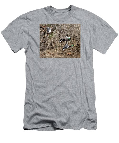 Men's T-Shirt (Slim Fit) featuring the photograph Mallard Ducks 2 by David Lester