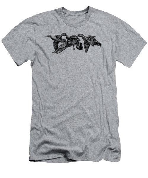 Mallard Ducks In Flight Bw Men's T-Shirt (Athletic Fit)