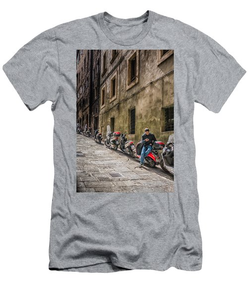 Man On A Scooter Siena-style Men's T-Shirt (Athletic Fit)
