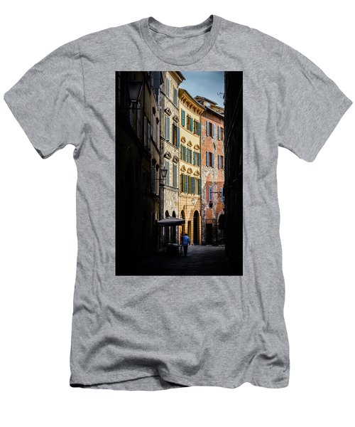 Man Walking Alone In Small Street In Siena, Tuscany, Italy Men's T-Shirt (Athletic Fit)