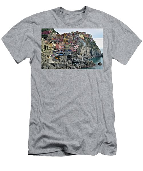 Men's T-Shirt (Slim Fit) featuring the photograph Manarola Version Two by Frozen in Time Fine Art Photography