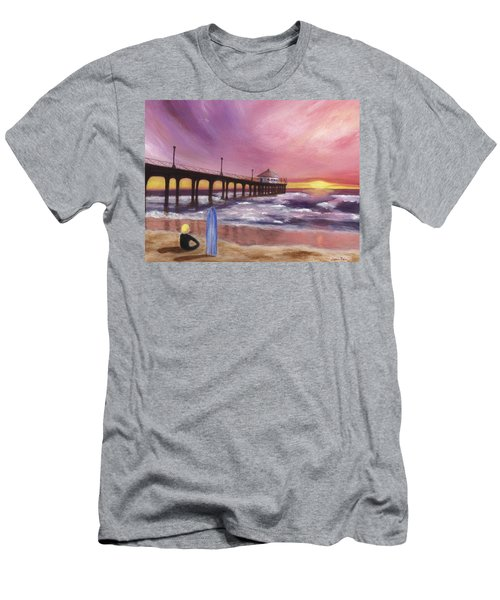 Men's T-Shirt (Slim Fit) featuring the painting Manhattan Beach Pier by Jamie Frier