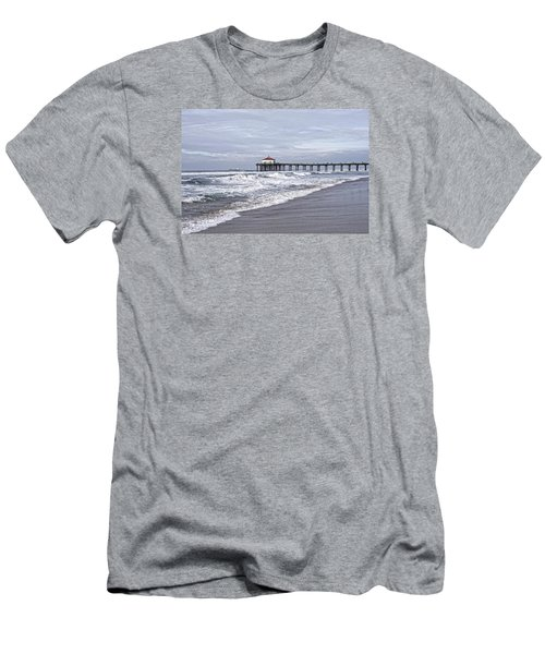 Men's T-Shirt (Athletic Fit) featuring the photograph Manhattan Pier Surf And Waves by Michael Hope