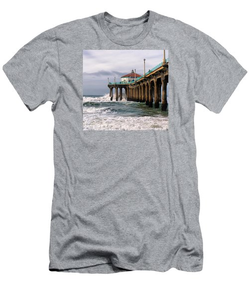 Men's T-Shirt (Athletic Fit) featuring the photograph Manhattan Pier Surf by Michael Hope